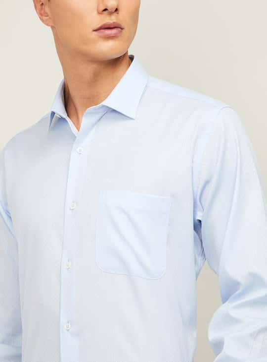 VAN HEUSEN Men Textured Regular Fit Formal Shirt