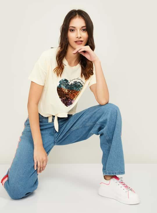 GINGER Women Sequinned Crop T-shirt