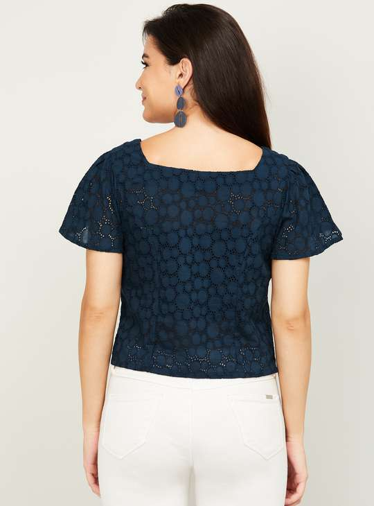 COLOUR Women Embroidered Woven Top