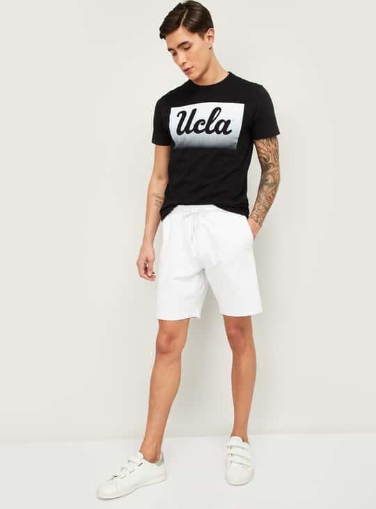 FAME FOREVER Men Typographic Print Regular Fit Knit Shorts