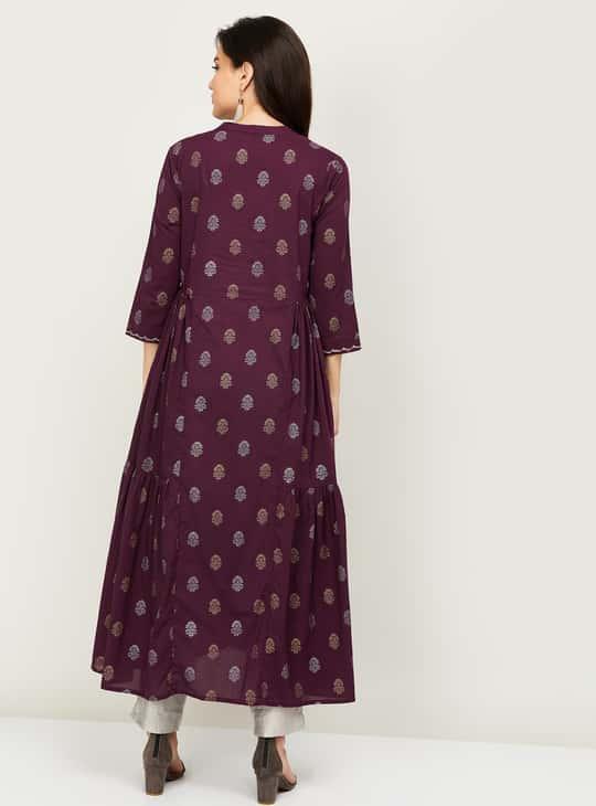 MELANGE Women Printed Three-Quarter Sleeves A-Line Kurta
