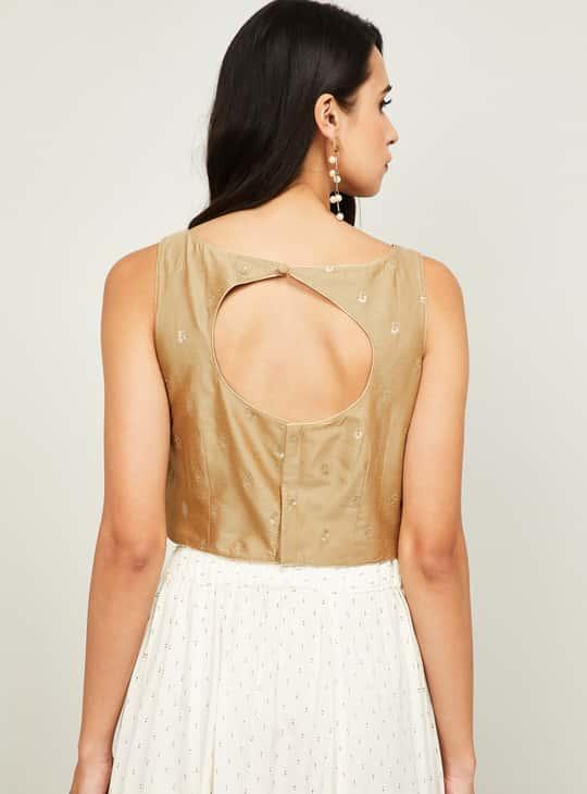 MELANGE Sequin Embellished Ethnic Crop Top