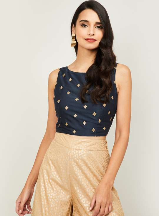MELANGE Women Embroidered Sleeveless Crop Top