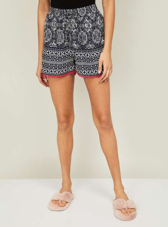 GINGER Women Printed Elasticated Lounge Shorts