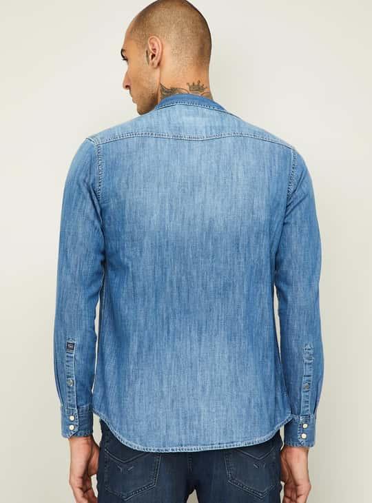 PEPE JEANS Men Faded Regular Fit Denim Shirt
