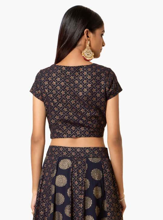 INDYA Printed Short Sleeves Crop Top