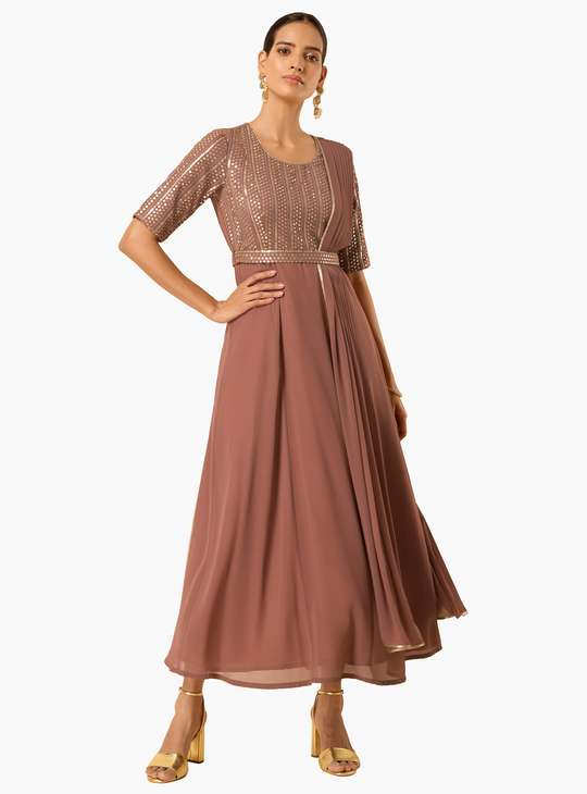 INDYA Women Embellished Maxi Tunic with Attached Dupatta and Belt