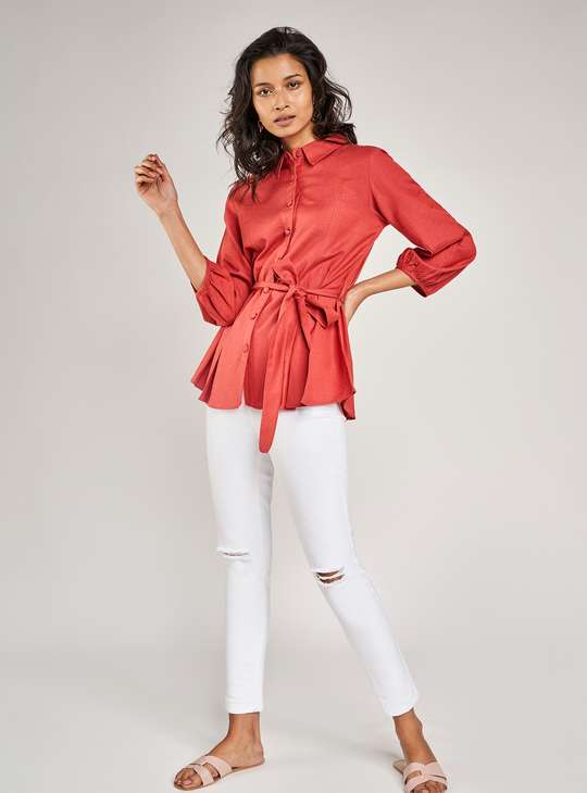 AND Women Solid Three-quarter Casual Shirt