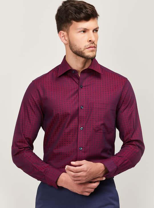 LOUIS PHILIPPE Men Textured Full Sleeves Regular Fit Formal Shirt