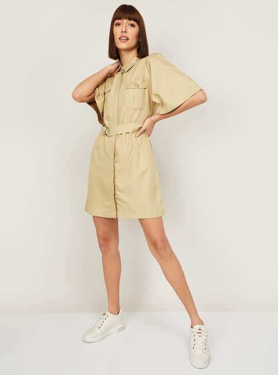 GINGER Women Solid Shirt Dress
