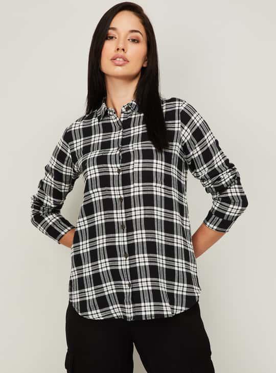 GINGER Women Checked Full Sleeves Casual Shirt
