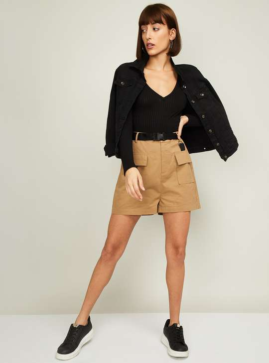 GINGER Women Solid Woven Shorts