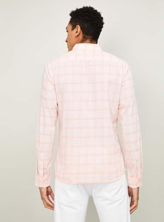 FAME FOREVER Men Checked Full Sleeves Slim Fit Casual Shirt