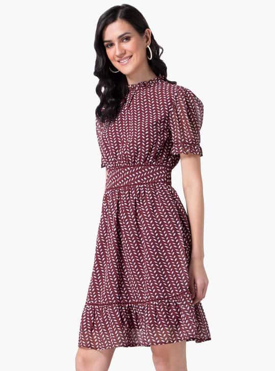 FABALLEY Women Printed Ruffled Skater Dress