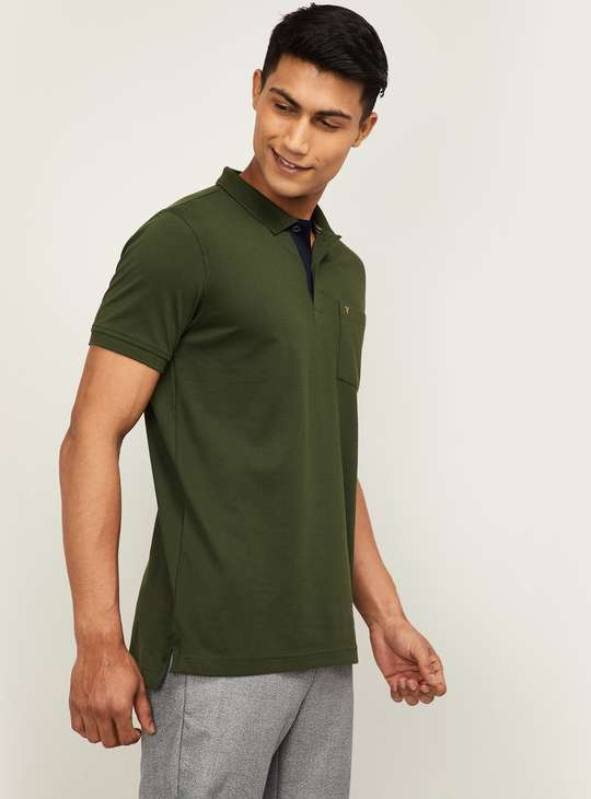 VH SPORTS Men Solid Smart Casual Polo T-shirt