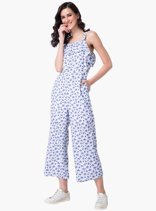 FABALLEY Women Floral Printed Ruffled Jumpsuit