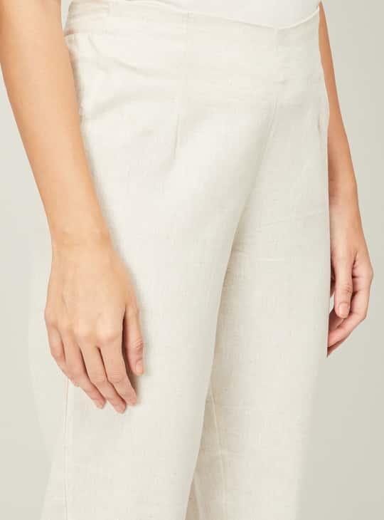 MELANGE Women Checked Kurta With Solid Straight Pants