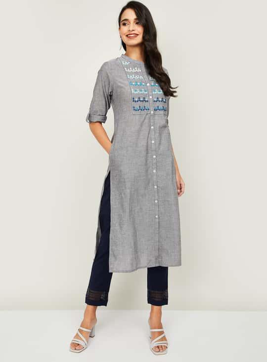 MELANGE Women Embroidered Kurta with Straight Pants