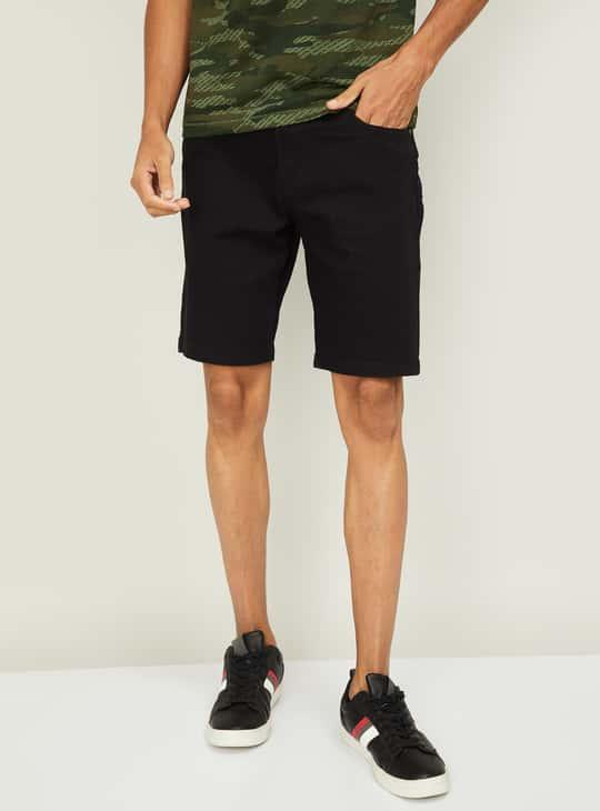 FORCA Men Solid Woven Denim Shorts