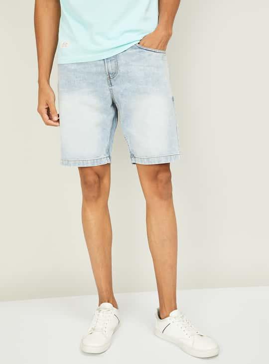 FORCA Men Faded Denim Shorts