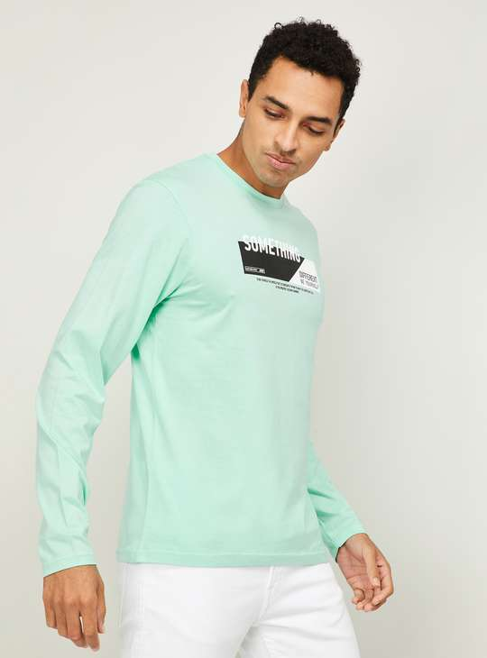 BOSSINI Men Typographic Print Regular Fit Crew Neck T-shirt