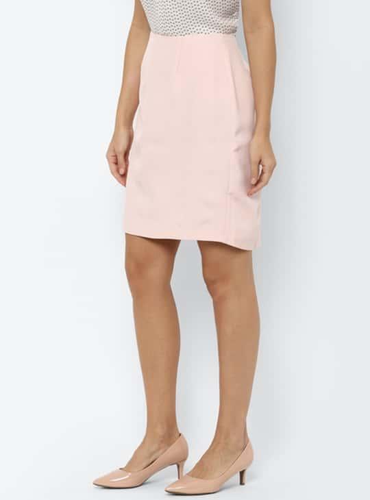 ALLEN SOLLY Women Solid A-Line Formal Skirt