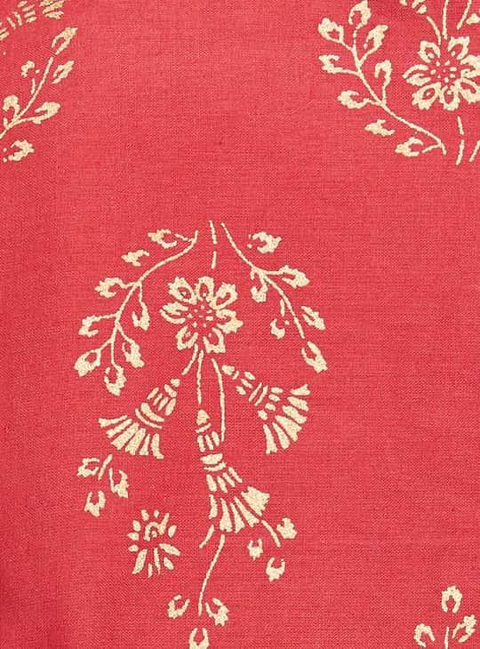 MELANGE Women Printed Three-Quarter Sleeves Straight Kurta