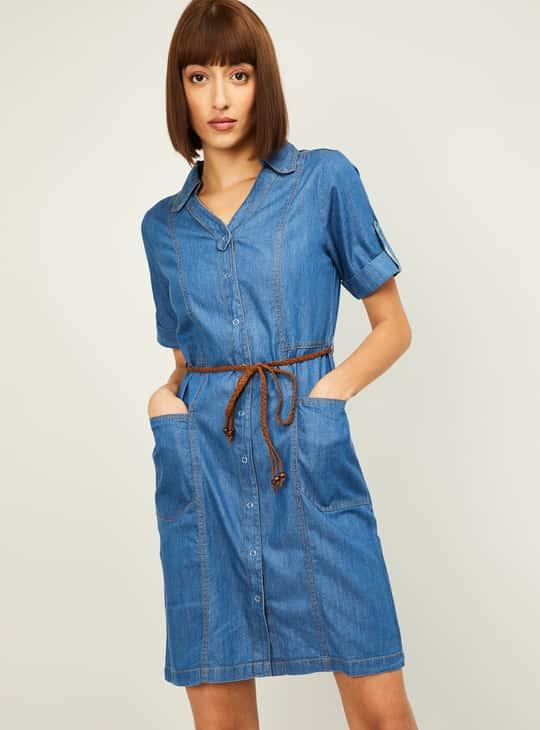 LATIN QUARTERS Women Solid Denim Shirt Dress