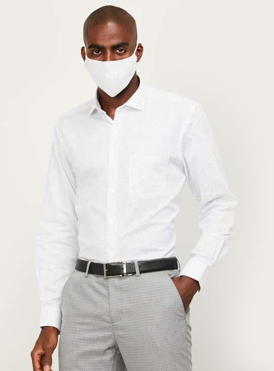CODE Men Printed Regular Fit Formal shirt with Mask