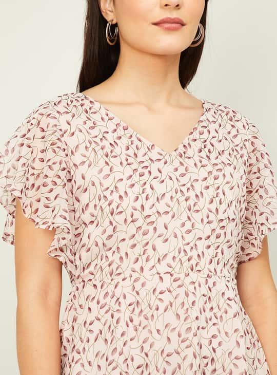 CODE Women Printed V-Neck Top Short Sleeves
