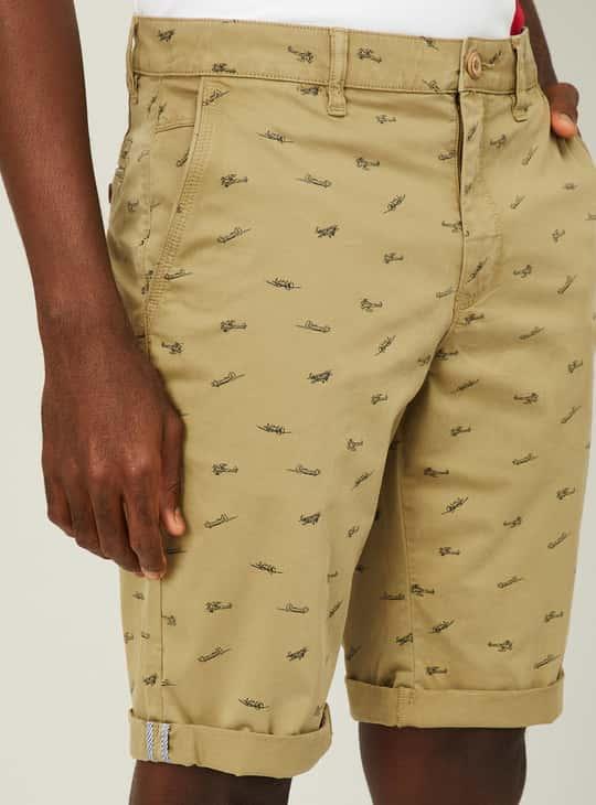 PARX Men Printed Slim Fit City Shorts with Folded Hem
