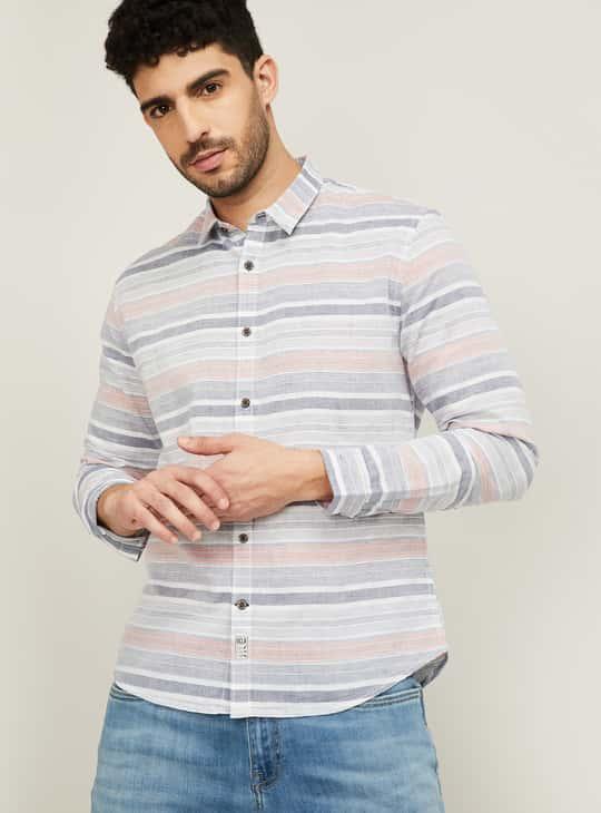 UCLA Men Striped Slim Fit Casual Shirt