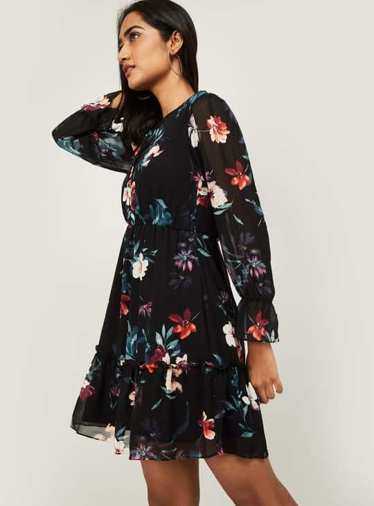 BOSSINI Women Printed Tiered Mini Dress