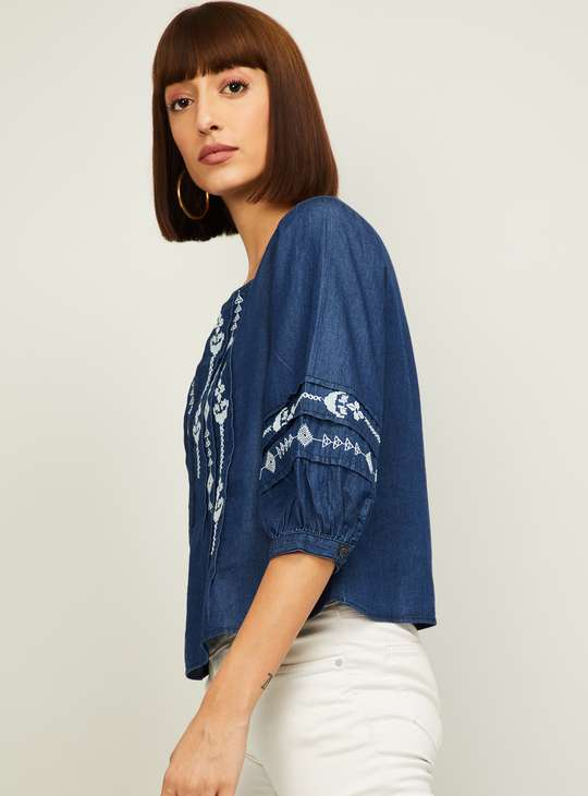 LATIN QUARTERS Women Embroidered Top with Pintucks