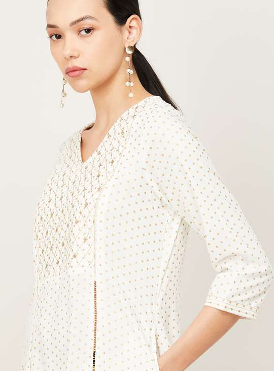 MELANGE Women Printed V-neck Straight Kurta