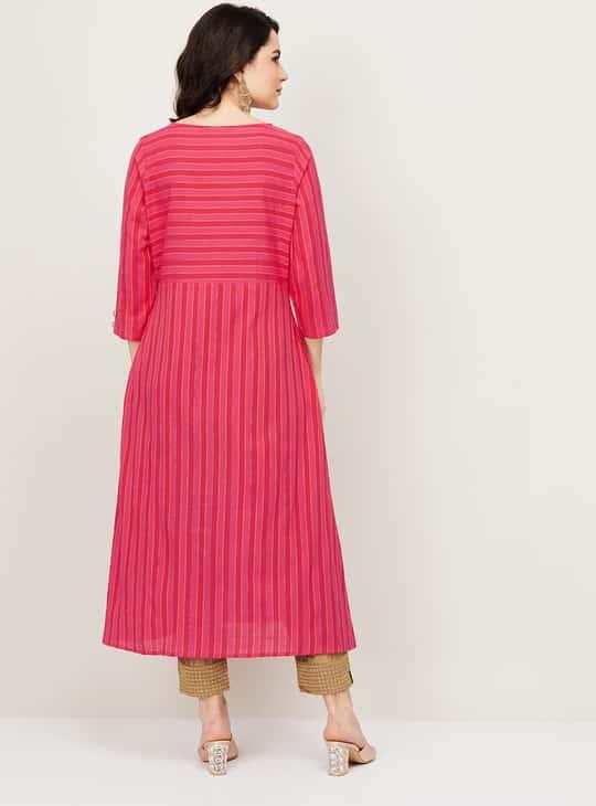 MELANGE Women Striped Three-Quarter Sleeves A-Line Kurta