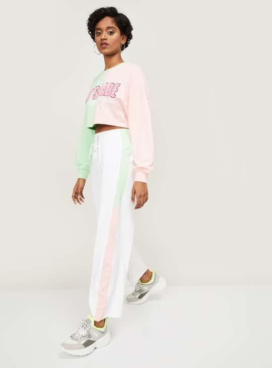 GINGER Women Colourblocked High-Waist Trousers