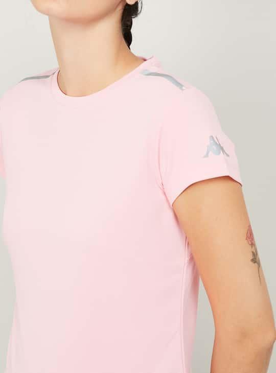 KAPPA Women Shoulder Striped Sports T-shirt