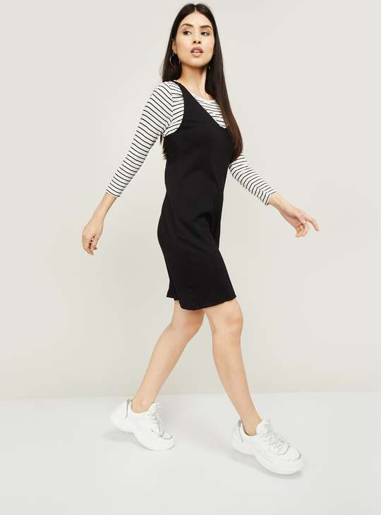 BOSSINI Women A-line Dress with Striped Top