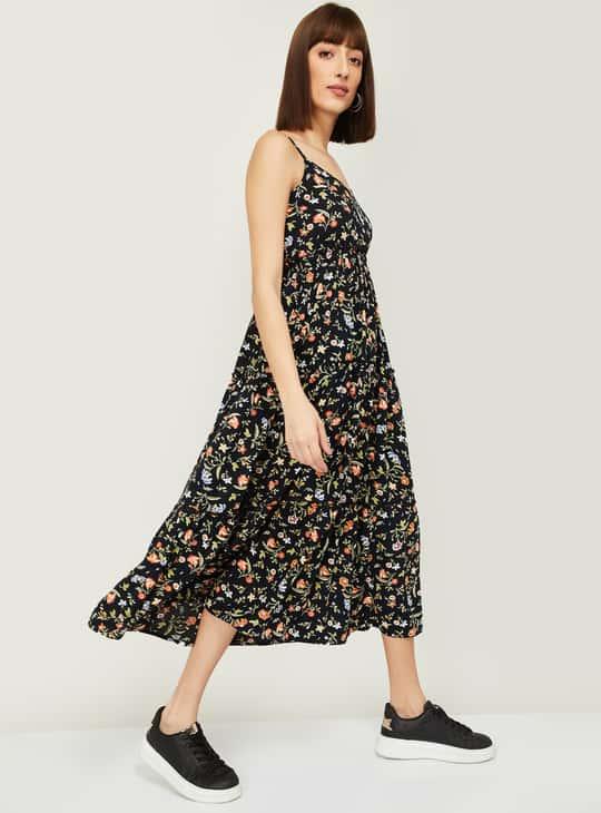 GINGER Women Floral Print A-Line Midi Dress