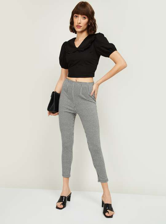 GINGER Women Textured Cropped Pants