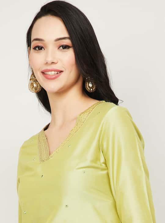 MELANGE Women Embellished V-Neck Straight Kurta
