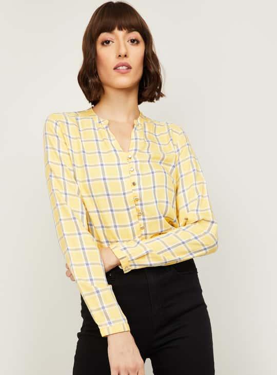 ALLEN SOLLY Women Checked Woven Shirt