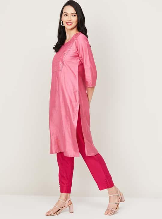 MELANGE Women Embellished Straight Kurta