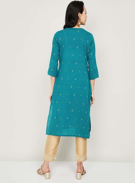 MELANGE Women Textured Button-Down Straight Kurta