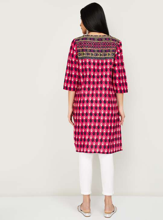 MELANGE Checked Three-quarter Sleeves Straight Kurta