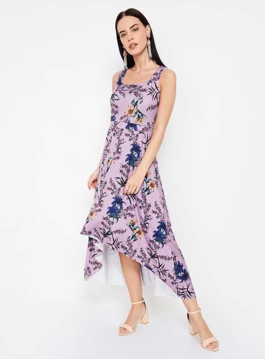 CODE Floral Print Sleeveless Asymmetrical Dress