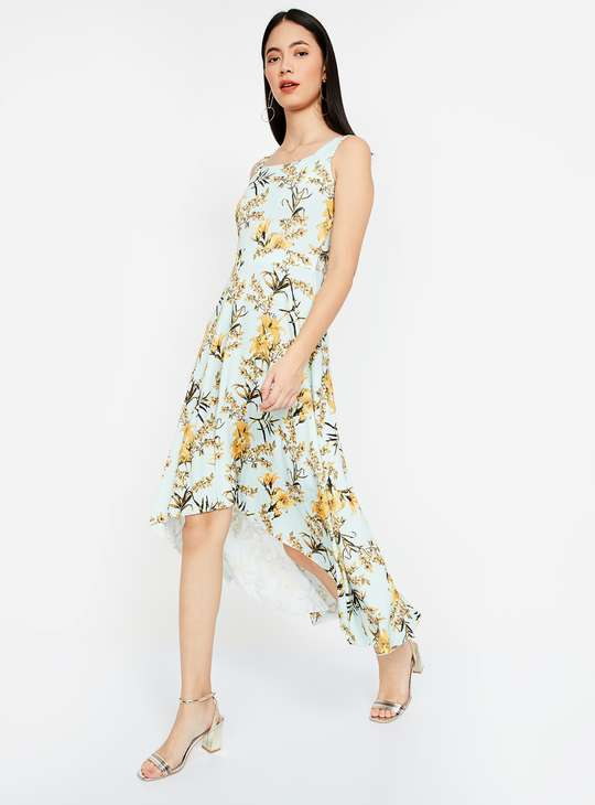 CODE Floral Print High-Low A-line Dress