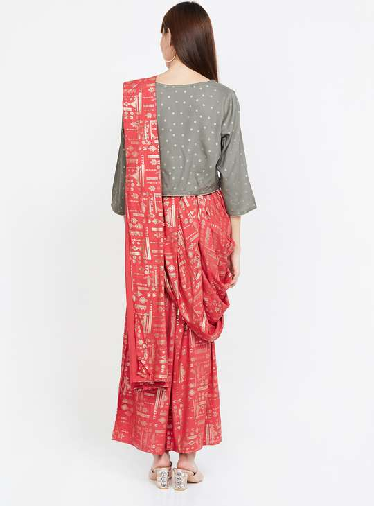 MLEANGE Foil Print Dhoti Saree with Top