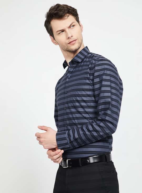 CODE Striped Full Sleeves Slim Fit Shirt